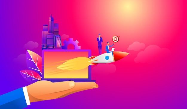 Geschäftsmann, der vorwärts mit einem raketenmotor fliegt Premium Vektoren