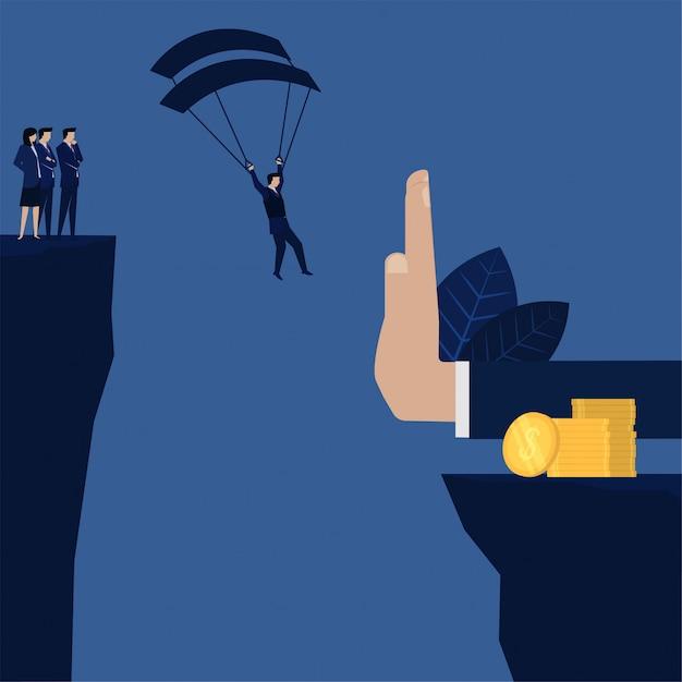 Geschäftsmann, der zum münzenstapel landet, aber eigenhändig metapher des gewinns und des verlustes stoppt. Premium Vektoren