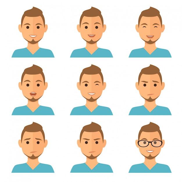 Geschäftsmann drückt avatare aus Premium Vektoren
