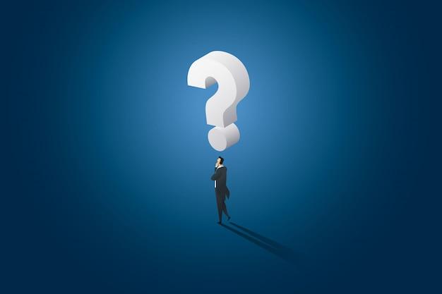 Geschäftsmann entscheidung stehend denken und hat großes fragezeichen auf dem kopf. Premium Vektoren