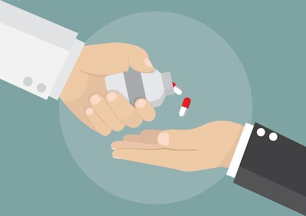 Geschäftsmann erhalten medikamente vom arzt Premium Vektoren