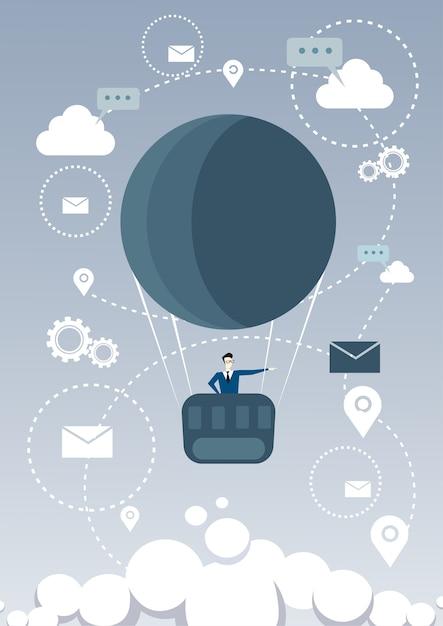 Geschäftsmann-fliege-luftballon, der nach erfolgreicher zukunft sucht Premium Vektoren