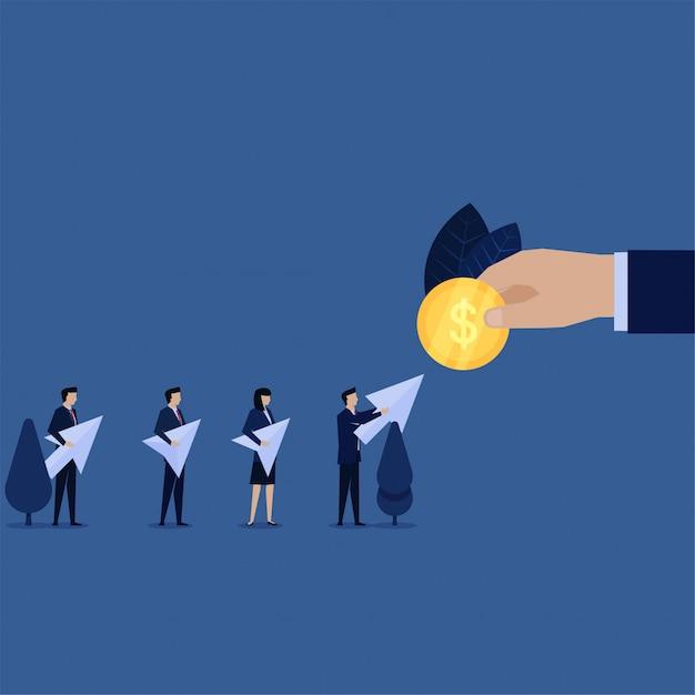 Geschäftsmann geben klick-symbol für münze metapher pay-per-click. Premium Vektoren
