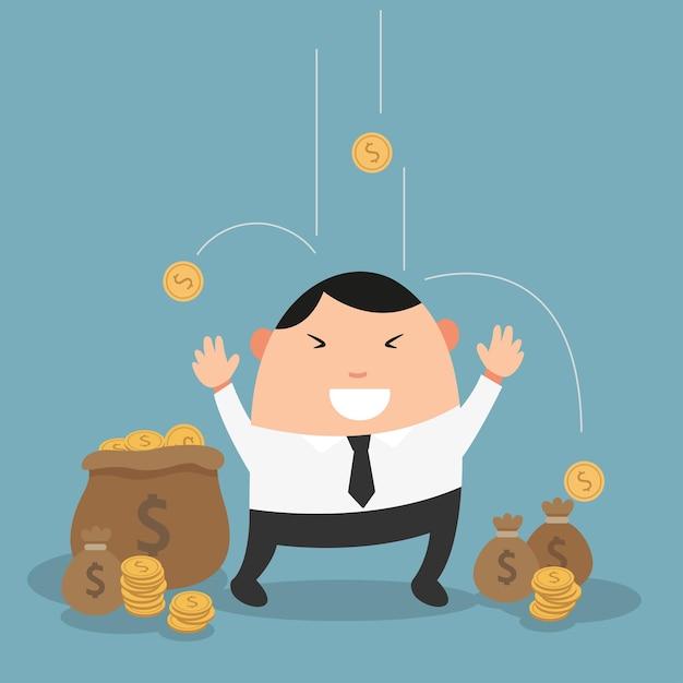 Geschäftsmann genießt es, geld zu regnen und wird millionär Premium Vektoren