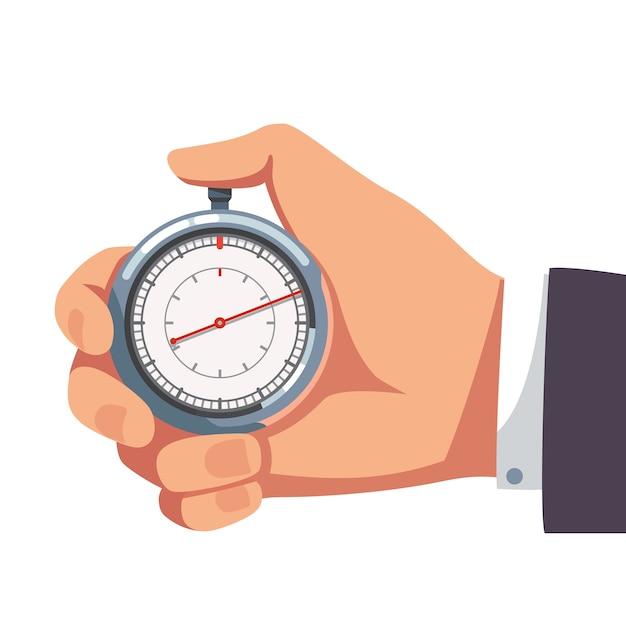 Geschäftsmann hält daumen finger auf stoppuhr Kostenlosen Vektoren