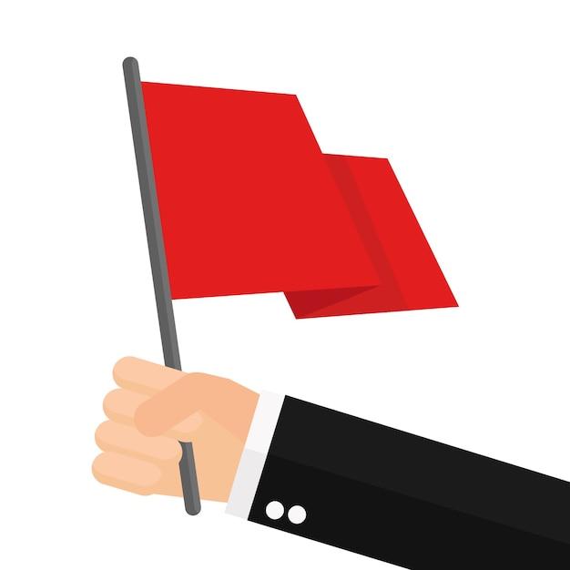 Geschäftsmann hält rote fahne Premium Vektoren