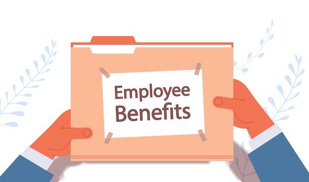 Geschäftsmann hände halten mitarbeiter leistungen dokumente datei ordner vergütung anreiz zahlungen konzept horizontale vektor-illustration Premium Vektoren