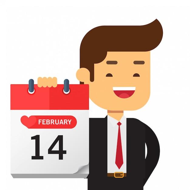 Geschäftsmann halten einen kalender am valentinstag Premium Vektoren
