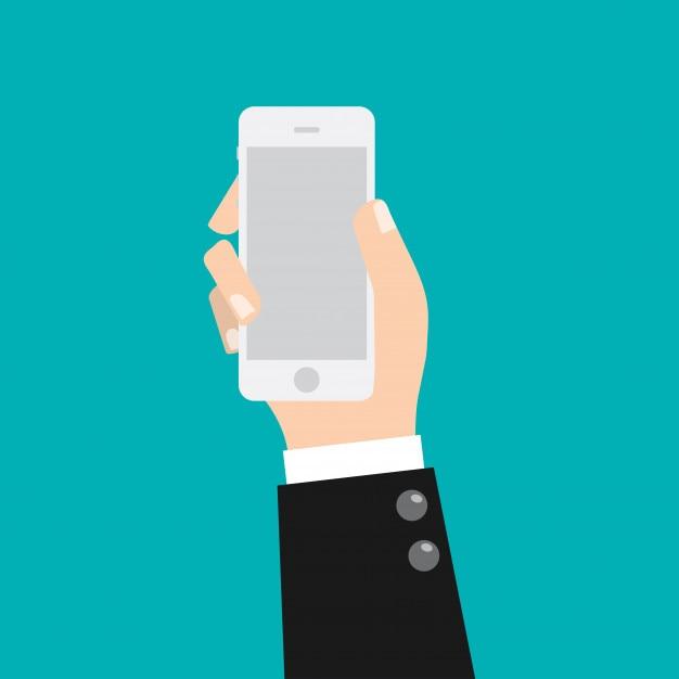 Geschäftsmann hand, die intelligentes mobiltelefon hält. Premium Vektoren