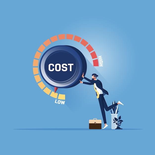 Geschäftsmann hand drehen kostenzifferblatt auf niedrige position. kostensenkungsmanagement-konzept. Premium Vektoren