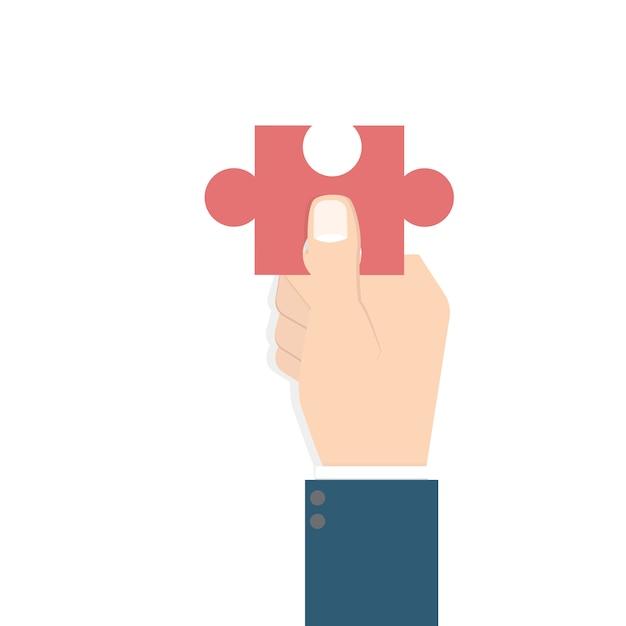 Geschäftsmann hand hält puzzle. problem- und lösungskonzept. Premium Vektoren