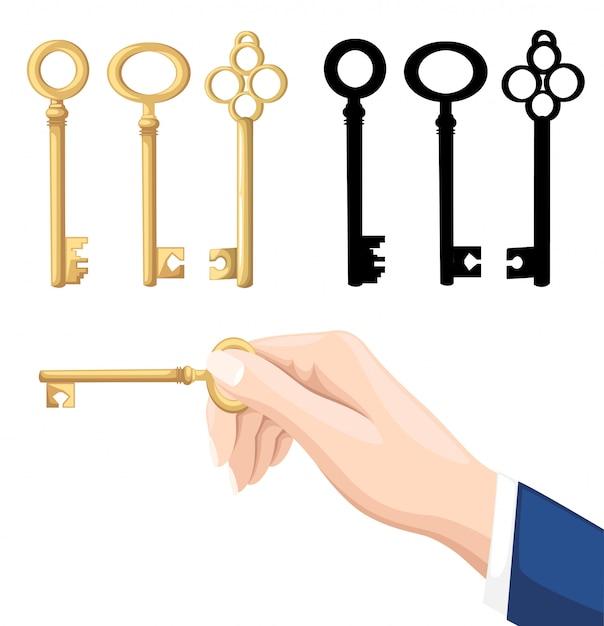 Geschäftsmann hand hält schlüssel. goldene und schwarze schlüssel auf hintergrund. illustration auf weißem hintergrund. webseite und mobile app Premium Vektoren
