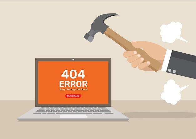 Geschäftsmann hand verärgert zerschlagen computer. Premium Vektoren