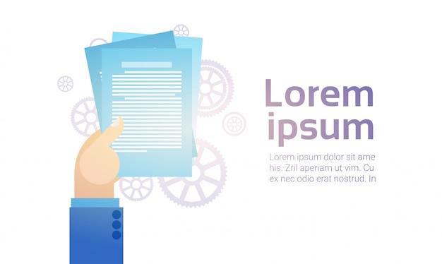 Geschäftsmann-handgriff-papierdokumente, unterzeichnen, vertragsvereinbarungs-konzept Premium Vektoren