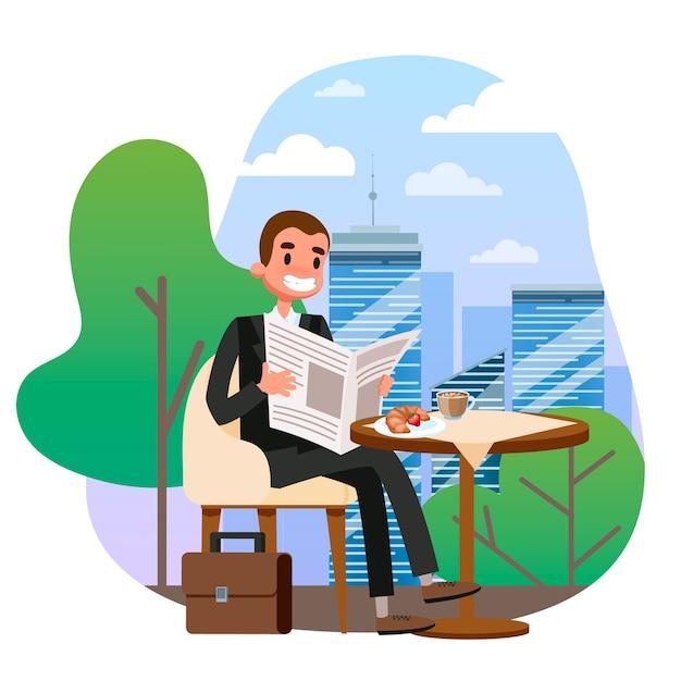 Geschäftsmann im anzug, der am tisch im café sitzt Premium Vektoren