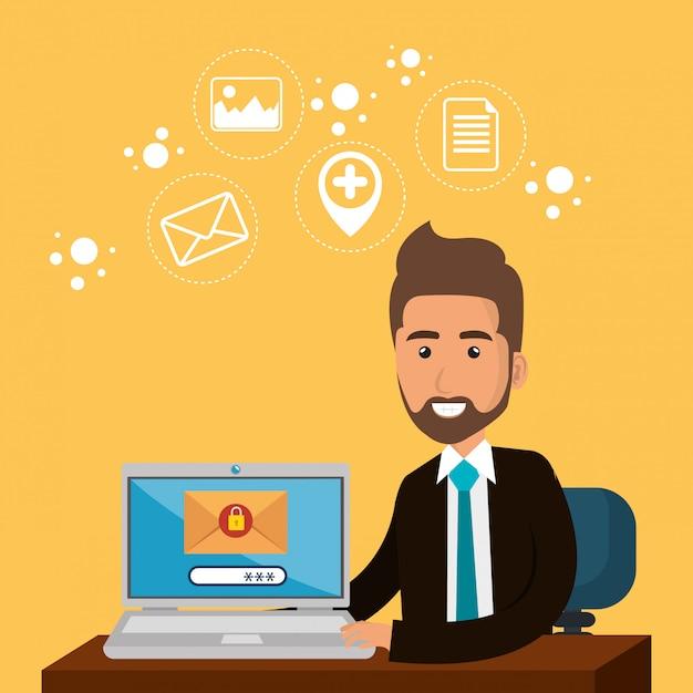 Geschäftsmann im büro mit e-mail-marketing-ikonen Kostenlosen Vektoren