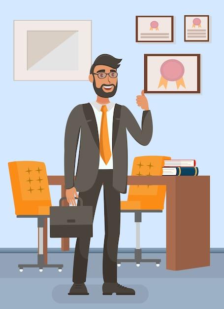 Geschäftsmann im büro Premium Vektoren