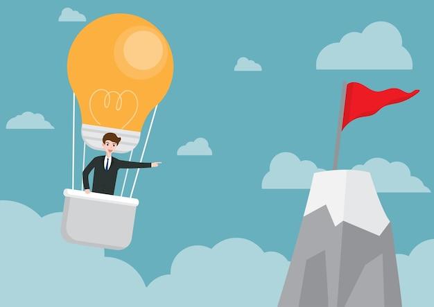 Geschäftsmann in der ballonbirnenform Premium Vektoren