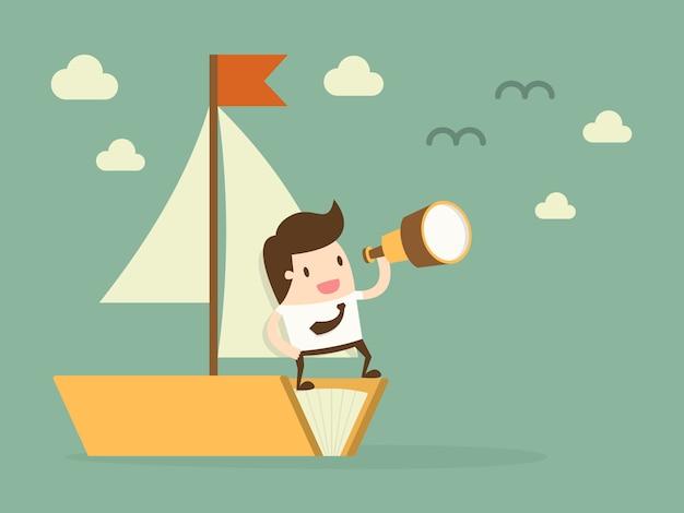 Geschäftsmann in einem boot Kostenlosen Vektoren