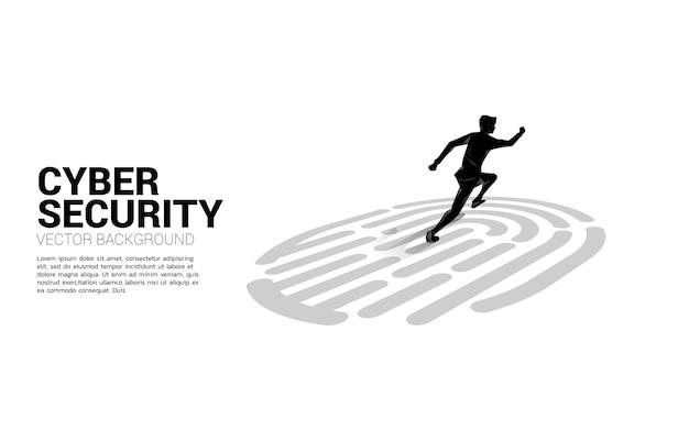 Geschäftsmann läuft auf fingerscan-symbol. hintergrundkonzept für sicherheits- und datenschutztechnologie im netzwerk Premium Vektoren