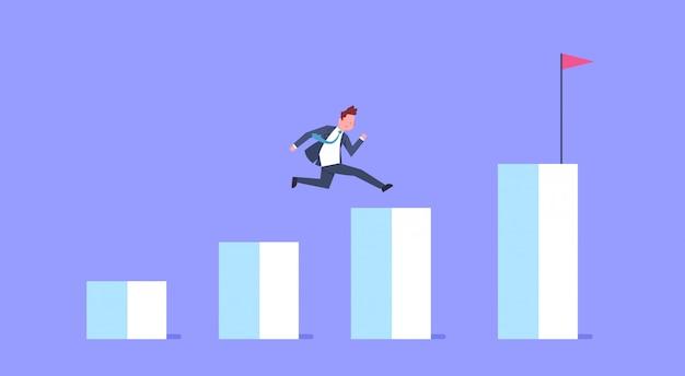 Geschäftsmann lassen finanzbalkendiagramm-geschäftsmann climb growth chart laufen Premium Vektoren