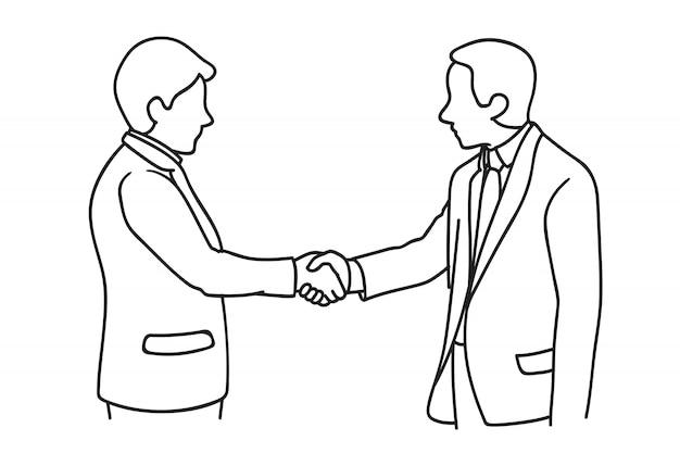 Geschäftsmann macht einen deal Premium Vektoren