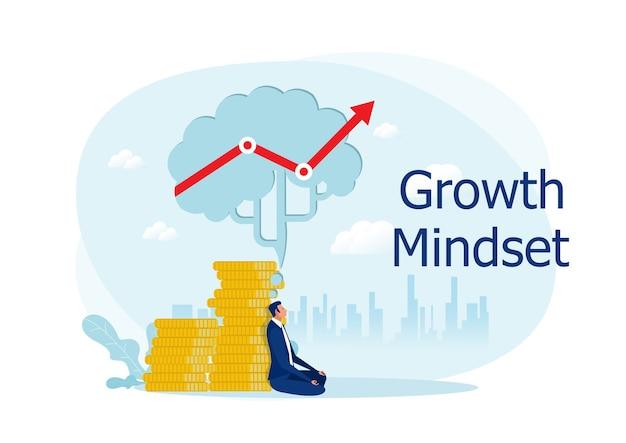 Geschäftsmann meditieren unter großem gehirn mit denkender wachstumsmentalität, um kreatives konzept des geschäftsgewinns Premium Vektoren