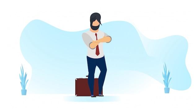 Geschäftsmann mit anzug und gewellten formen Premium Vektoren