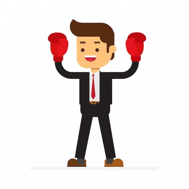 Geschäftsmann mit boxhandschuhen ist gewinner Premium Vektoren