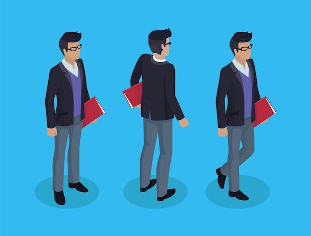 Geschäftsmann mit dokumenten illustration Premium Vektoren