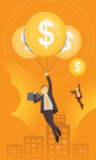 Geschäftsmann mit dollar-ballon Premium Vektoren