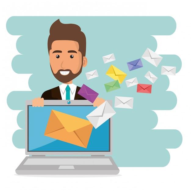 Geschäftsmann mit e-mail-marketing-ikonen Kostenlosen Vektoren