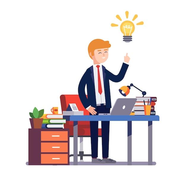 Geschäftsmann mit einer neuen hellen lösung idee Kostenlosen Vektoren