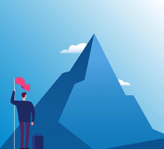 Geschäftsmann mit flagge am berg. neuer zweck, erfolgsvision und zielerreichung Premium Vektoren
