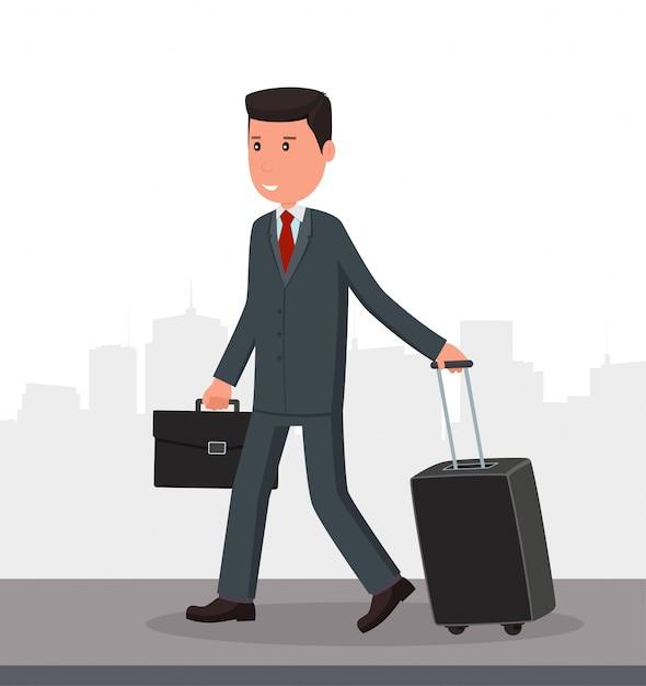 Geschäftsmann mit gepäck geht zum flughafen. Premium Vektoren