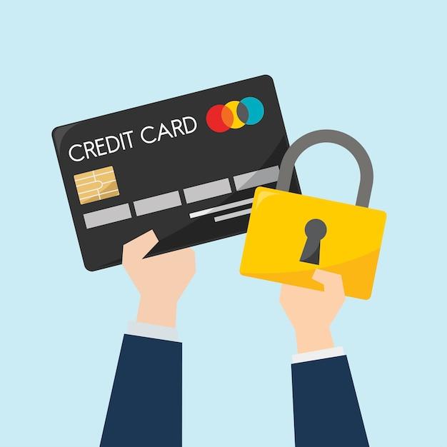 Geschäftsmann mit kreditkarte und schutz Kostenlosen Vektoren