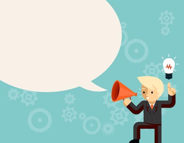 Geschäftsmann mit megaphon sprechende idee sprechblase. glühbirne und information, führer mit megaphon oder lautsprecher Kostenlosen Vektoren