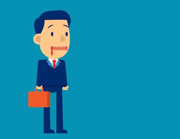 Geschäftsmann mit reißverschluss den mund Premium Vektoren