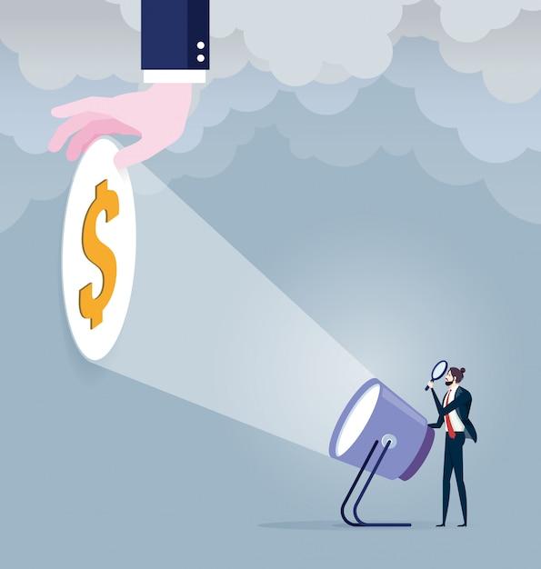 Geschäftsmann mit taschenlampe und dollarzeichen Premium Vektoren