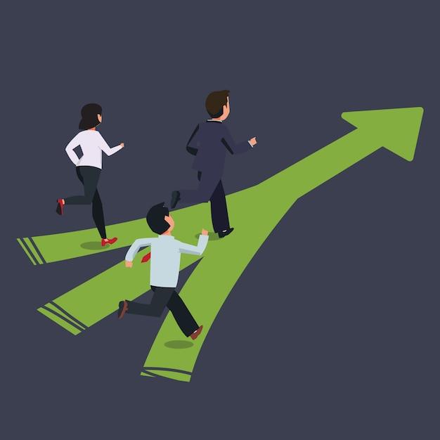 Geschäftsmann mit team läuft auf die gleiche weise. führungswettbewerbskonzept, illustration Premium Vektoren