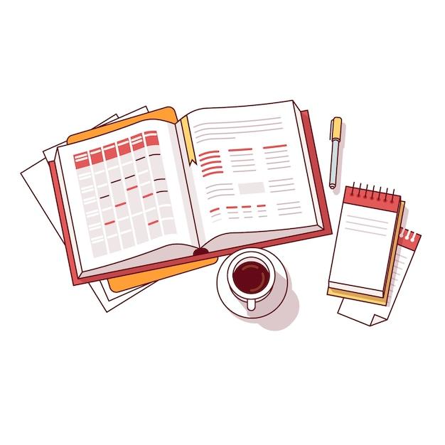 Geschäftsmann morgen tag zeitplan notebook Kostenlosen Vektoren