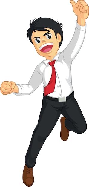 Geschäftsmann oder büroangestellter, der vor freude springt Premium Vektoren