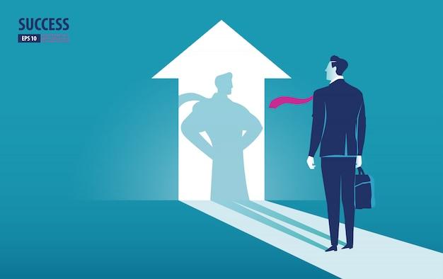 Geschäftsmann passt seinen schatten auf und erwägt über superhelden und macht oben an. Premium Vektoren