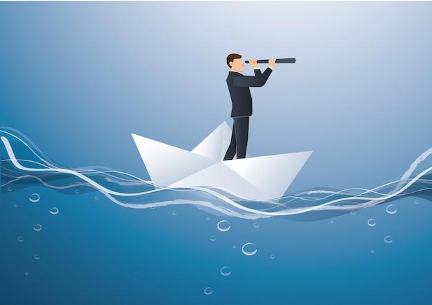 Geschäftsmann schaut durch ein teleskop, das auf papierboot steht Premium Vektoren