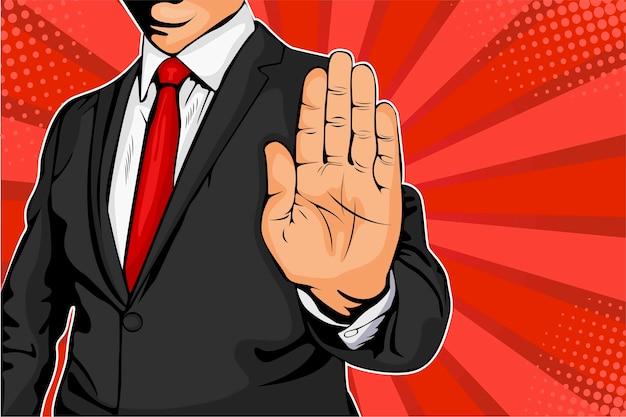 Geschäftsmann seine hand aus und befiehlt zu stoppen. Premium Vektoren