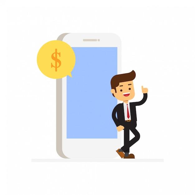 Geschäftsmann-showtelefone, die sms senden Premium Vektoren