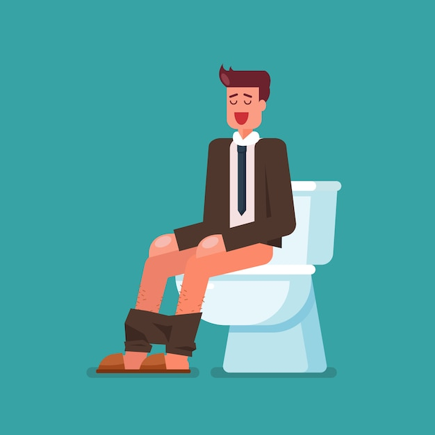 Geschäftsmann sitzt auf toilettenschüssel Premium Vektoren
