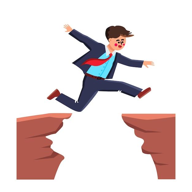 Geschäftsmann springt über abyss challenge Premium Vektoren
