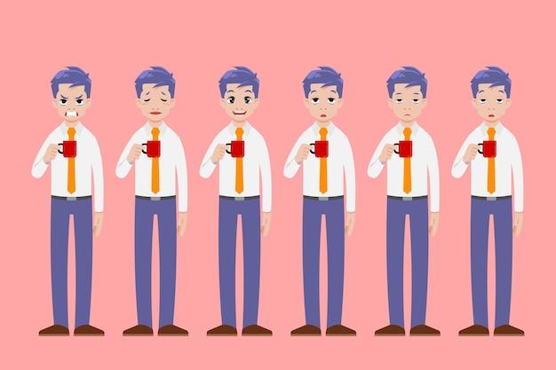 Geschäftsmann stehen und halten eine tasse kaffeegetränk in verschiedenen posengesten und zeigen viele gesichtsgefühle. Premium Vektoren