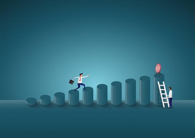 Geschäftsmann steigen, um ziele zu finden. der weg zum erfolg. Premium Vektoren